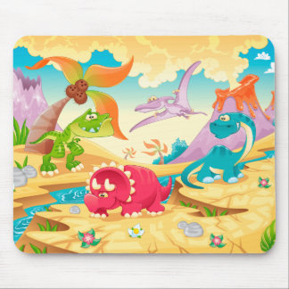 Dinosaurs Family with background. Mouse Pad