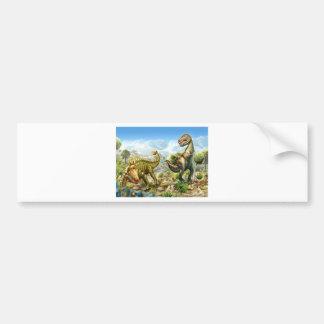 Dinosaurs Fighting Anklosaurus and Tyrannosaurus Bumper Sticker