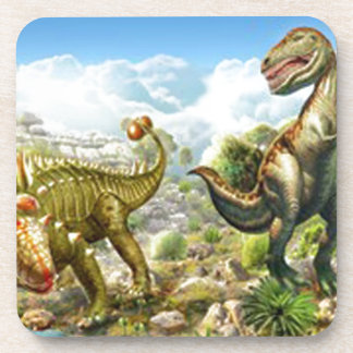 Dinosaurs Fighting Anklosaurus and Tyrannosaurus Drink Coaster