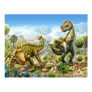 Dinosaurs Fighting Anklosaurus and Tyrannosaurus Postcard
