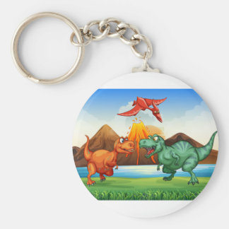 Dinosaurs fighting in the field basic round button keychain