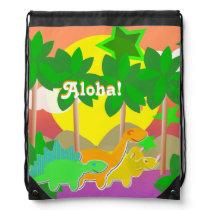 "Dinosaurs Friends Holiday Island ""Aloha!"" Kawaii Drawstring Backpack"