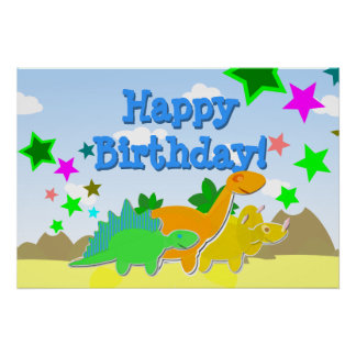 Dinosaurs Happy Birthday Poster
