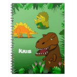 Dinosaurs in a Jungle Custom Name Spiral Notebook