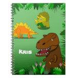 Dinosaurs in a Jungle Custom Name Spiral Notebook