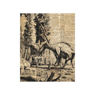 Dinosaurs In Forest Vintage Dictionary Art Canvas Print