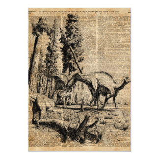 Dinosaurs In Forest Vintage Dictionary Art Card