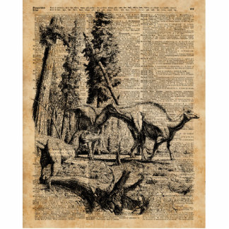 Dinosaurs In Forest Vintage Dictionary Art Cutout