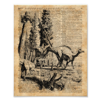 Dinosaurs In Forest Vintage Dictionary Art Photo Print