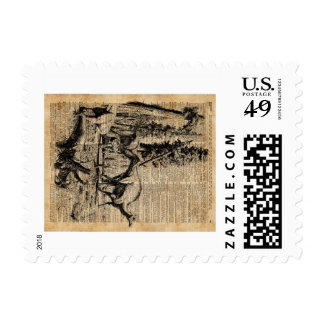 Dinosaurs In Forest Vintage Dictionary Art Postage