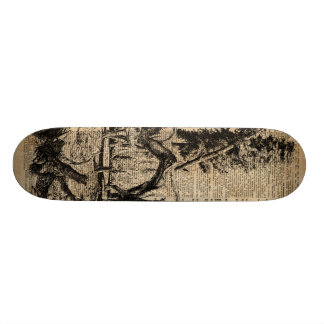 Dinosaurs In Forest Vintage Dictionary Art Skateboard