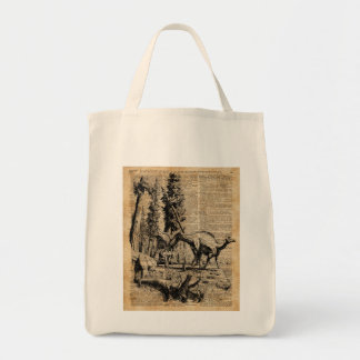 Dinosaurs In Forest Vintage Dictionary Art Tote Bag