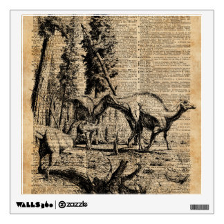 Dinosaurs In Forest Vintage Dictionary Art Wall Sticker