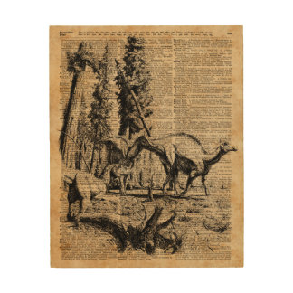 Dinosaurs In Forest Vintage Dictionary Art Wood Wall Decor