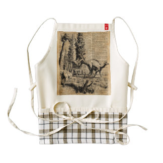 Dinosaurs In Forest Vintage Dictionary Art Zazzle HEART Apron