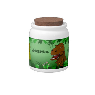 Dinosaurs in the Jungle Custom Name Candy Jar