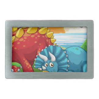 Dinosaurs in the park belt buckle