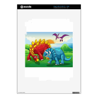 Dinosaurs in the park decals for the iPad 2