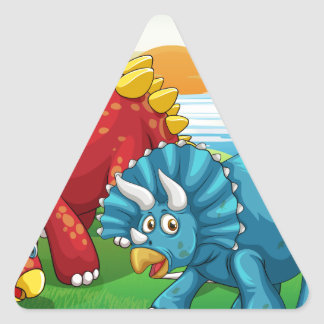 Dinosaurs in the park triangle sticker