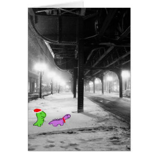Dinosaurs in the snow, 'L' Train, Chicago Card