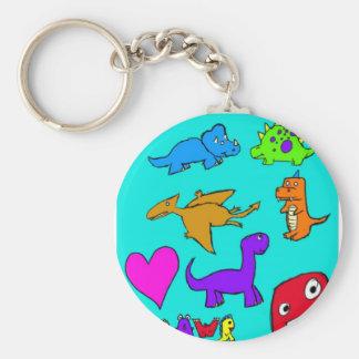 Dinosaurs! Basic Round Button Keychain