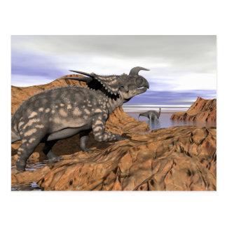 Dinosaurs landscape - 3D render Postcard