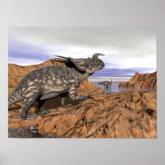 Dinosaurs landscape - 3D render Poster