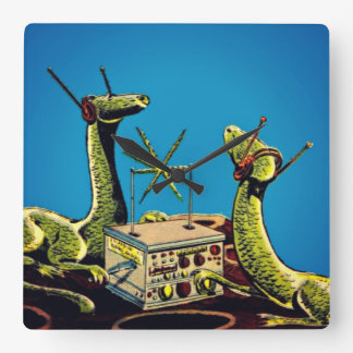 Dinosaurs listening to radio transmission - Clock