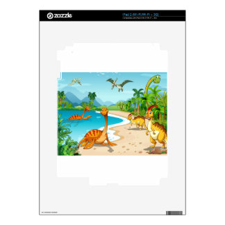 Dinosaurs living on the beach iPad 2 decals