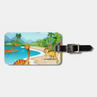 Dinosaurs living on the beach luggage tag