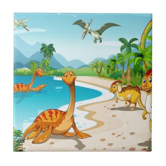 Dinosaurs living on the beach tile
