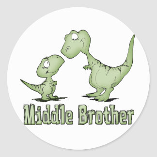 Dinosaurs Middle Brother Classic Round Sticker