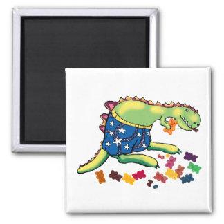 Dinosaur's midnight snack 2 inch square magnet