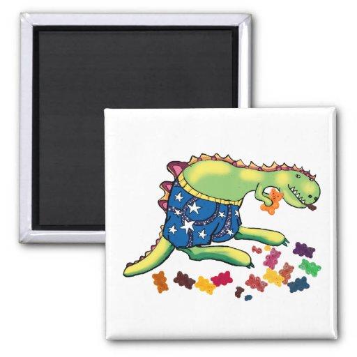 Dinosaur's midnight snack magnets
