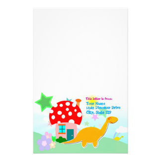 Dinosaurs Mushroom House Stationery with Your Name