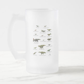 Dinosaurs names frosted glass beer mug