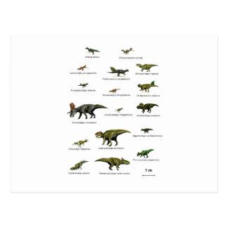 Dinosaurs names postcard