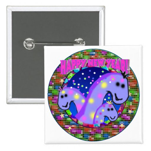 Dinosaurs New Years Pinback Buttons