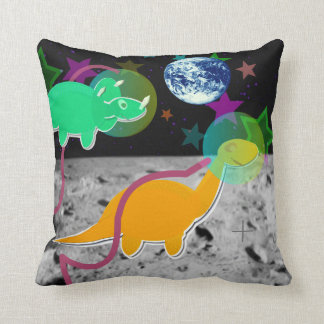 Dinosaurs on the Moon Throw Pillow