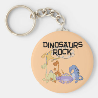 Dinosaurs Rock Tshirts and Gifts Basic Round Button Keychain