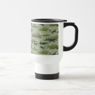 Dinosaurs Running Camo Pattern Travel Mug