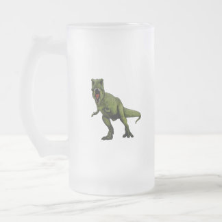 Dinosaurs T-Rex Frosted Glass Beer Mug