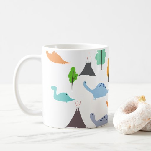 Dinosaurs volcanos trees colorful customizable coffee mug