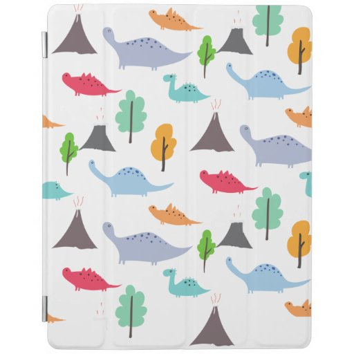Dinosaurs volcanos trees colorful customizable iPad smart cover