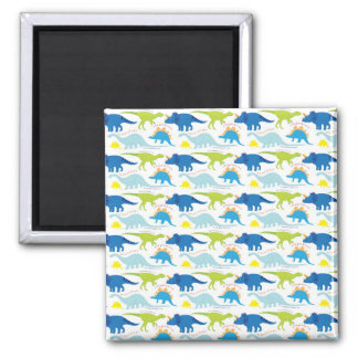Dinosuar Designs Blue and Green Pattern Dino Gifts 2 Inch Square Magnet