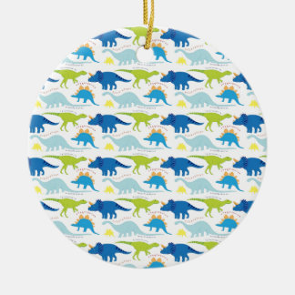 Dinosuar Designs Blue and Green Pattern Dino Gifts Ceramic Ornament