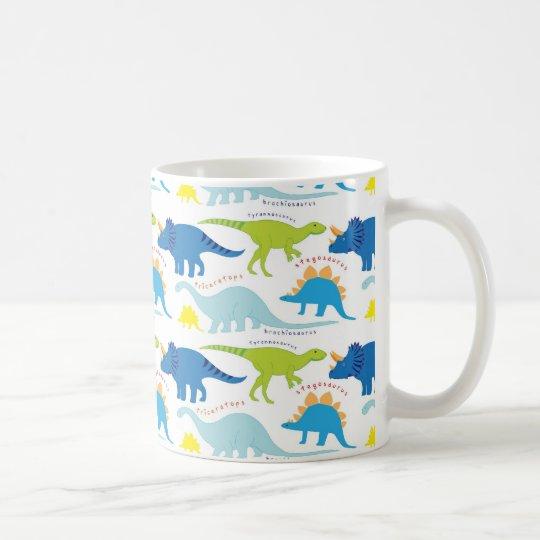Dinosuar Designs Blue and Green Pattern Dino Gifts Coffee Mug