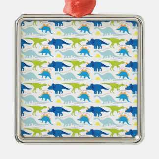 Dinosuar Designs Blue and Green Pattern Dino Gifts Metal Ornament