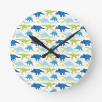 Dinosuar Designs Blue and Green Pattern Dino Gifts Round Clock