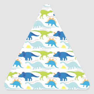 Dinosuar Designs Blue and Green Pattern Dino Gifts Triangle Sticker